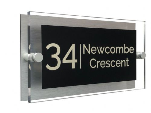 Rectangle Shape - Clear Acrylic House Sign - Black Colour with Double Cream text in Font  4